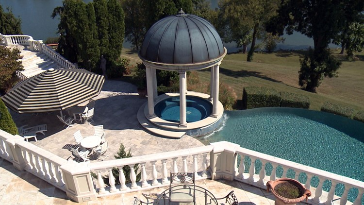 The back deck of the Villa Collina features a cupola and an infinity pool.