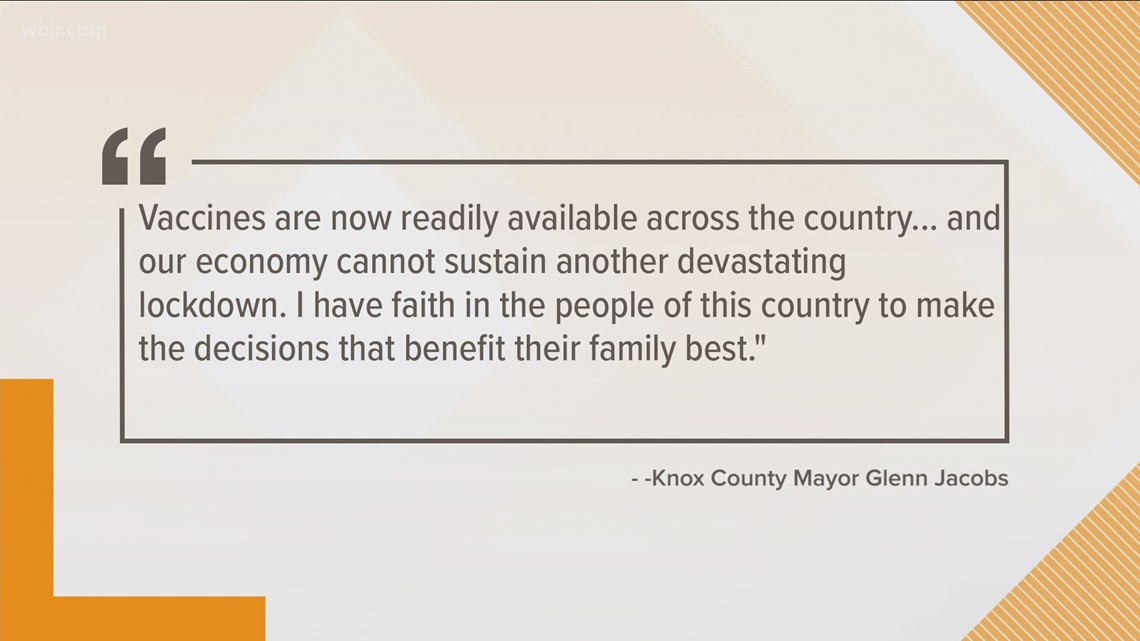 Mayor Glenn Jacobs says no new COVID restrictions will happen
