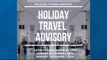 McGhee Tyson issues advisory for Thanksgiving travelers into Monday
