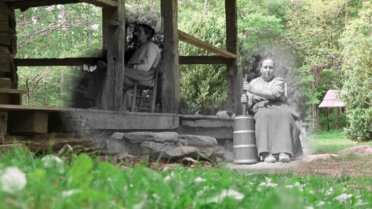 1936 and 2019 Blend Walker sisters Louisa Butter Churn Cabin Porch