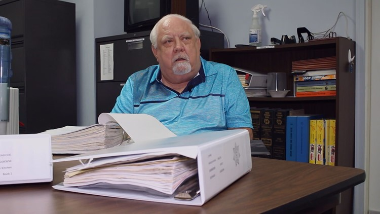 KCSO Chief Cold Case Investigator David Davenport goes through old notes on the Kitchen case.
