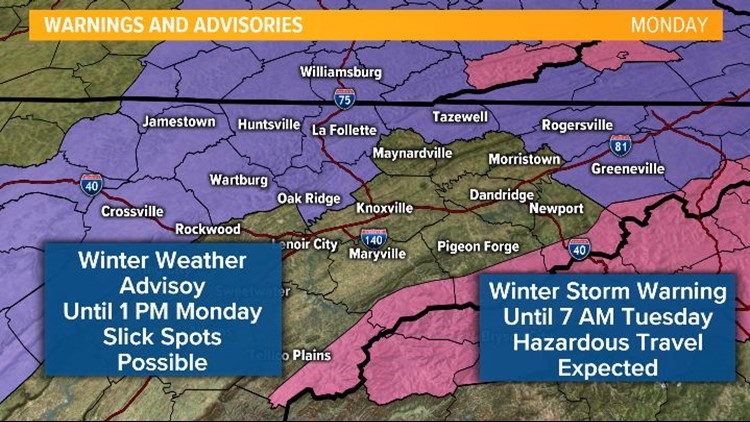 Winter Weather Advisory and Winter Storm Warning