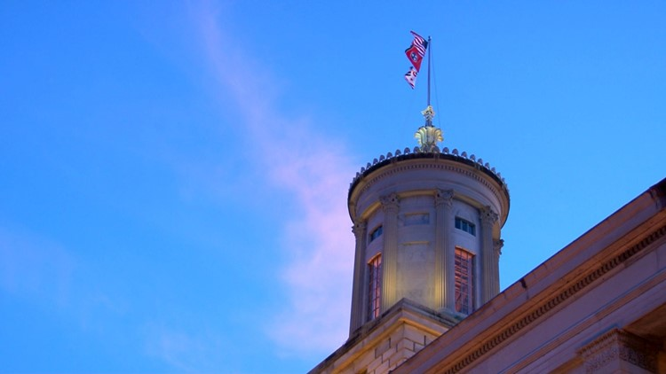 Tennessee state capitol blue sky sunset pink clouds legislature general assembly