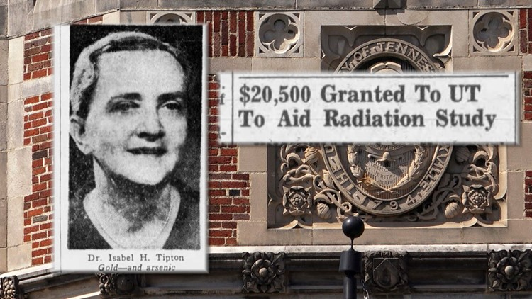 Dr Isabel Tipton photo with newspaper clipping about large grant to UT for radiation study