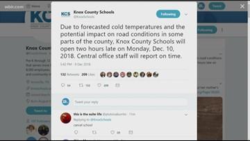 Knox County Schools under two-hour delay