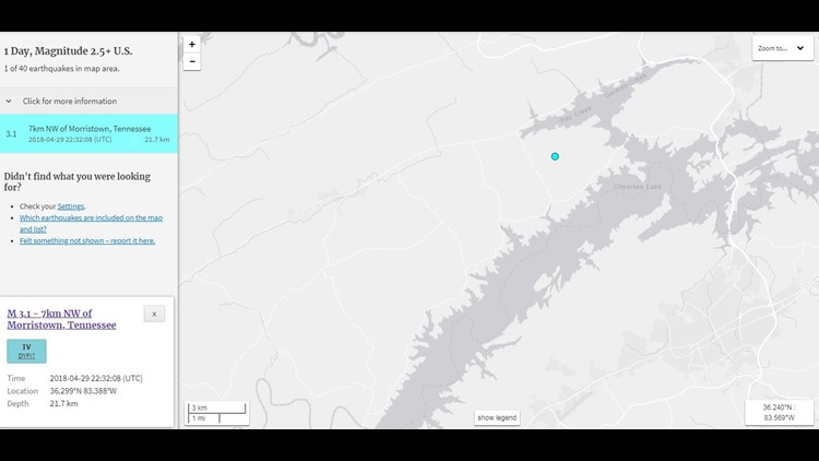 USGS reports 3.1 magnitude quake near Morristown