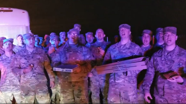 The California Highway Patrol gave a helping hand to nearly 70 soldiers from Knoxville's 278th Armored Calvary Regiment after their bus broke down.