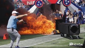 Titans pregame fireworks display sparks small fire on Nissan Stadium Field