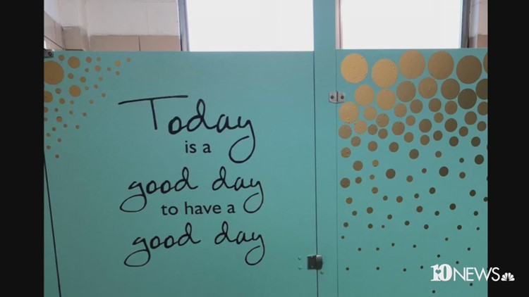 Words Of Encouragement Painted In 48th Grade Bathroom Wbir Magnificent Words For Bathroom Painting