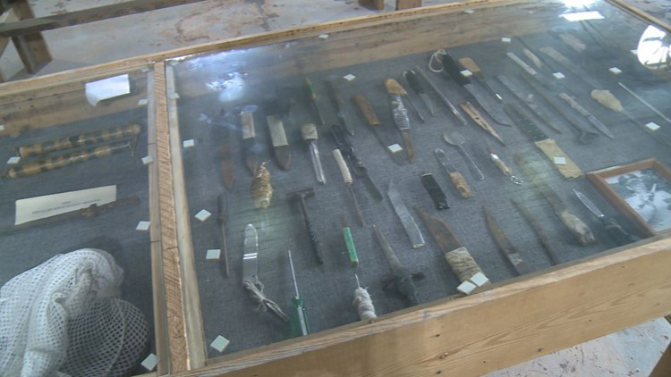 Weapons hand-crafted by former prisoners.