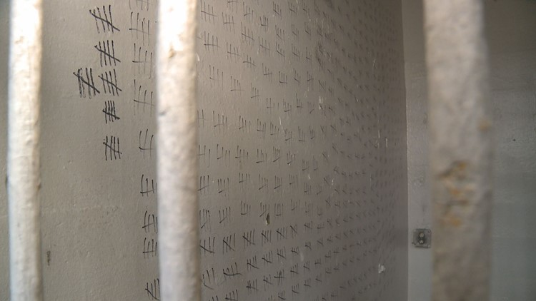 Tally marks line the walls inside a cell at Brushy Mountain Prison.