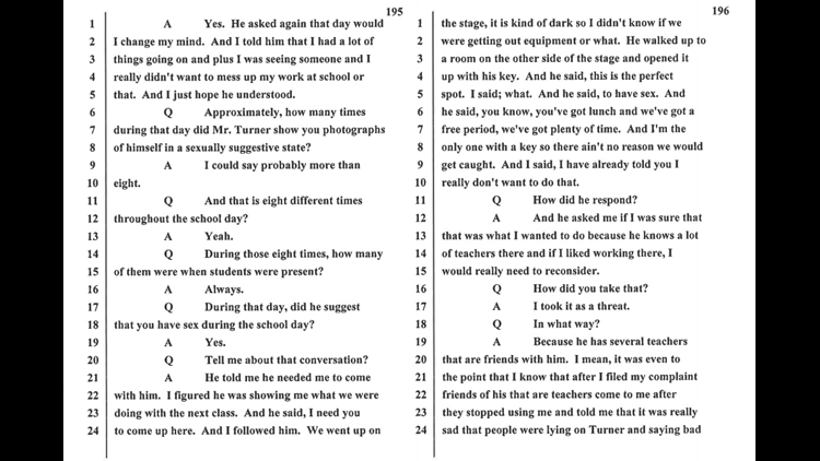 Transcript of substitute teacher talking about Turner's persistent advances toward her.