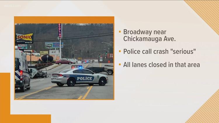 KPD: Broadway shut down due to crash