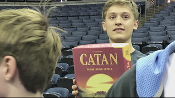 'This week, I'd let Grant win': Grant Williams autographs fan's Settlers of Catan board game