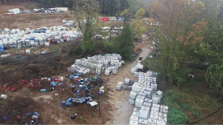 The Rocky Top site where thousands of barrels were found Friday.