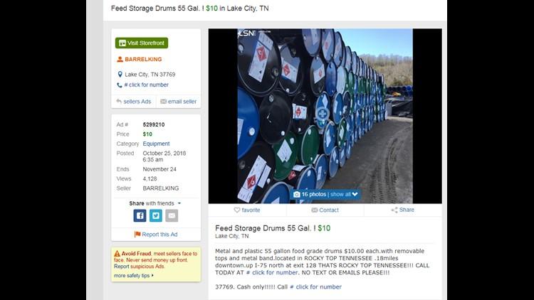 Larry Watters advertises barrel sales under the name Barrel King