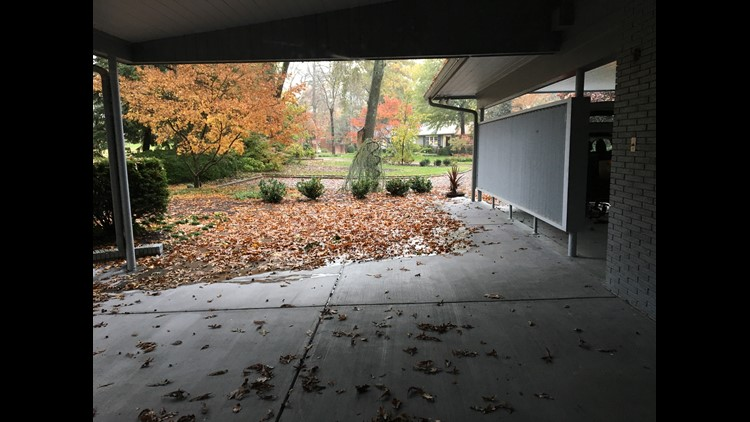 Carport and side patio of old Busch home
