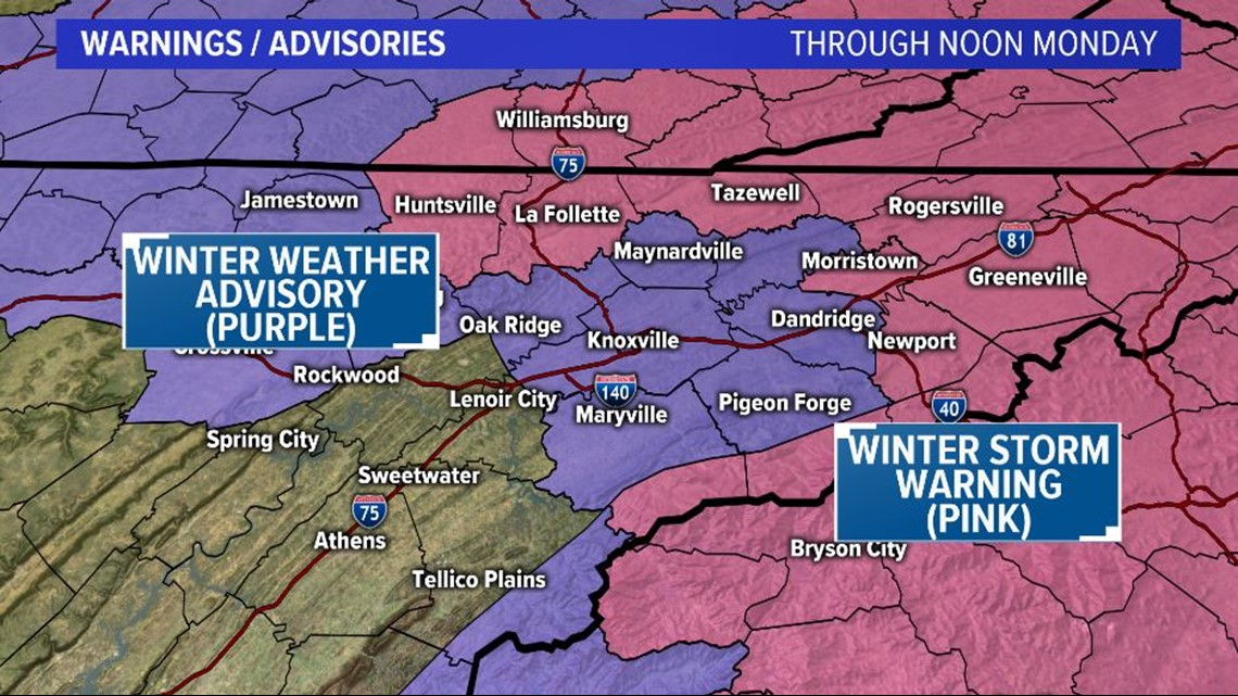 Wintry weather East Tennessee Sunday morning