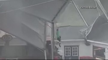 Clemson restaurant employee tossed onto roof while trying to secure event tent in storm