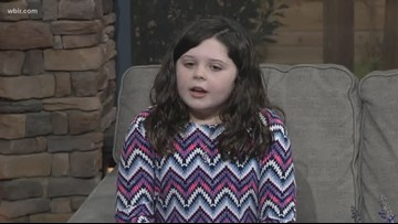 Junior anchor tells Russell and Beth about her unicorn, Doughnut
