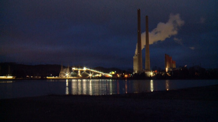 TVA Kingston Fossil Plant Coal at Night 2018