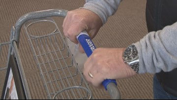 Shoppers fight germs with grocery cart wipes