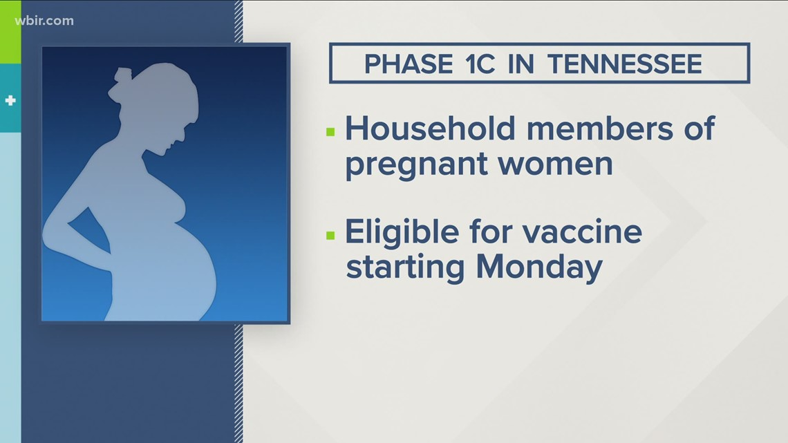 Pregnant women and household members of pregnant women eligible for vaccine in Phase 1c