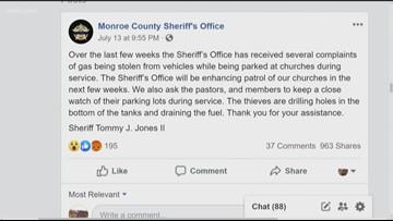 Monroe Co. warns about church gas thieves