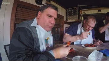 Check this out: Russ Biven competes against Mayor Glenn Jacobs in Read City USA wing eating competition