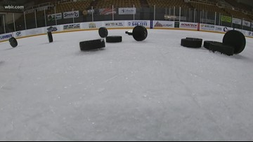 Shooting pucks with Ice Bears leading goal scorer Anthony McVeigh