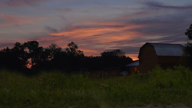 View of the sunset from the parking area at Molly Branch Fireflies in Corryton.