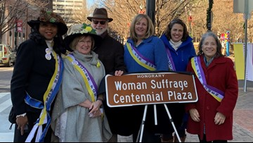 Section of Market Street given honorary name, 'Woman Suffrage Centennial Plaza'