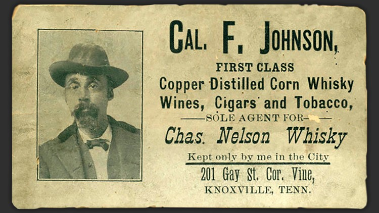 Cal F Johnson Business Card Knoxville whiskey