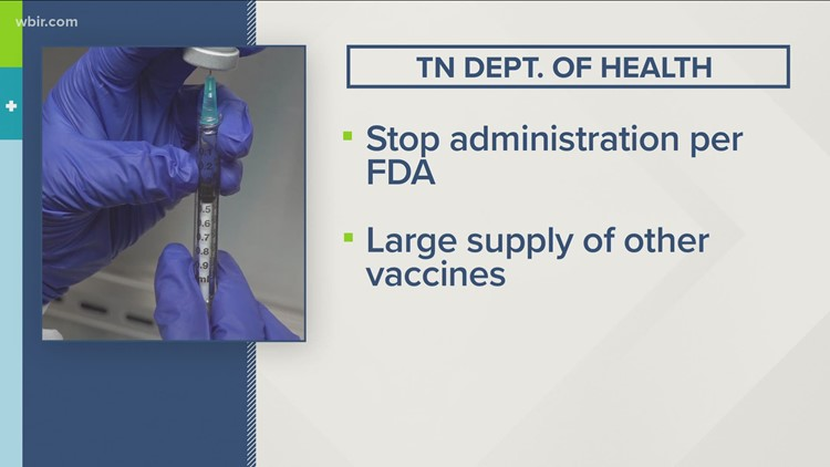 TN Dept. of Health pauses Johnson & Johnson vaccine administration amid FDA investigation into rare blood clots