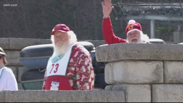 Santas from all over the world go tubing at Ober Gatlinburg
