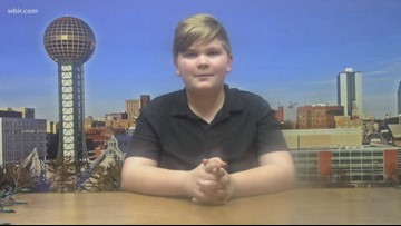 Jr. anchor Aiden shares the news at his school