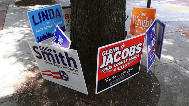 Campaign signs for the August election surround trees at the entrance to the City County Building in Downtown Knoxville.