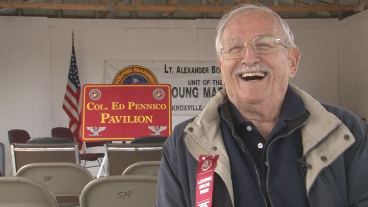 93-year-old four war veteran honored by young marines