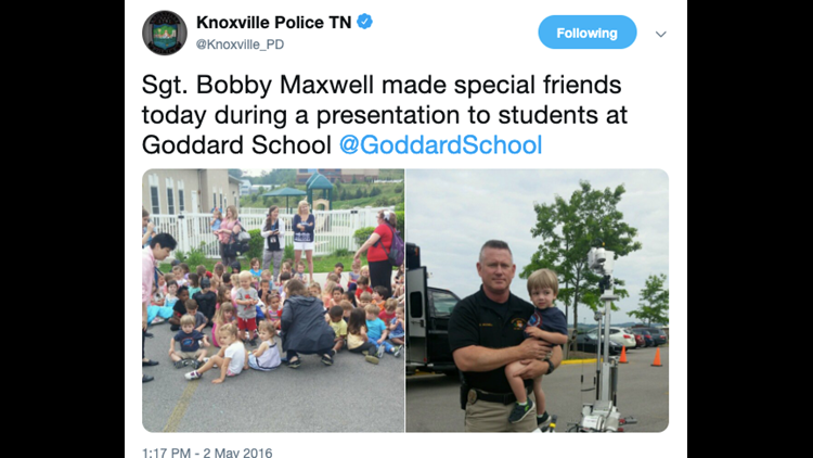 A KPD tweet from several years ago showing Sgt. Maxwell.