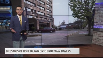 Message of hope drawn onto Broadway towers