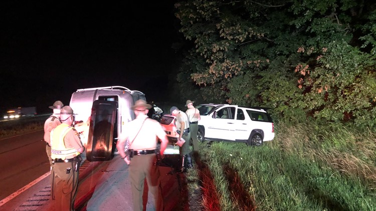 Family unharmed after hitting bear on I-81 caused RV to roll over