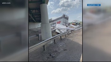 Driver hospitalized after semi rolls over I-81 overpass in