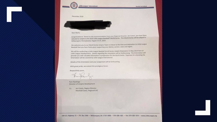 Little League World Series umpire letter