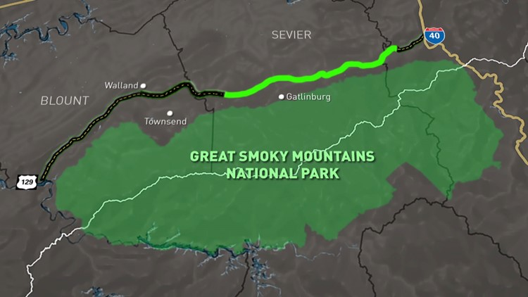 Unfinished Foothills Parkway Green Highlight Great Smoky Mountains Map