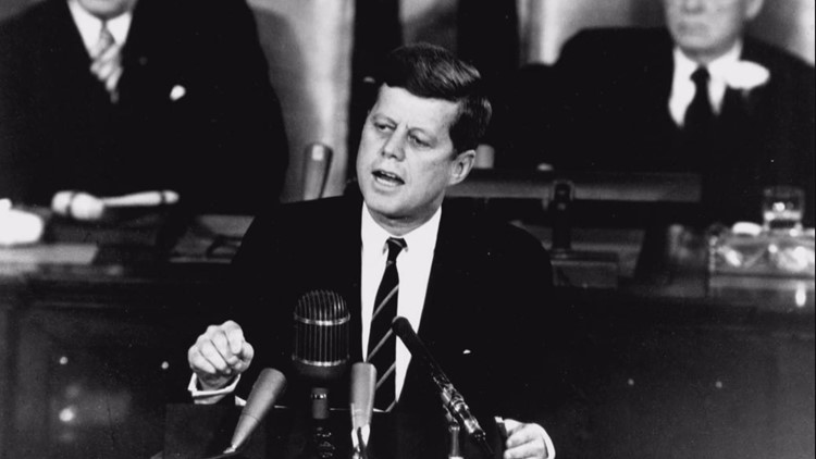 John F. Kennedy challenging America in 1961 to put a man on the Moon.
