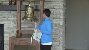 Buddy Check 10: Two-time breast cancer survivor rings the victory bell after proton therapy treatment