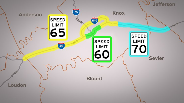 Speed limit changes on I-40 and I-640 in Knox County Knoxville TDOT