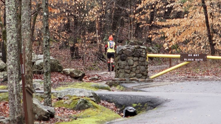 John Kelly near the start of his fifth and final loop of his solo No-Barkley Barkley 100-mile run