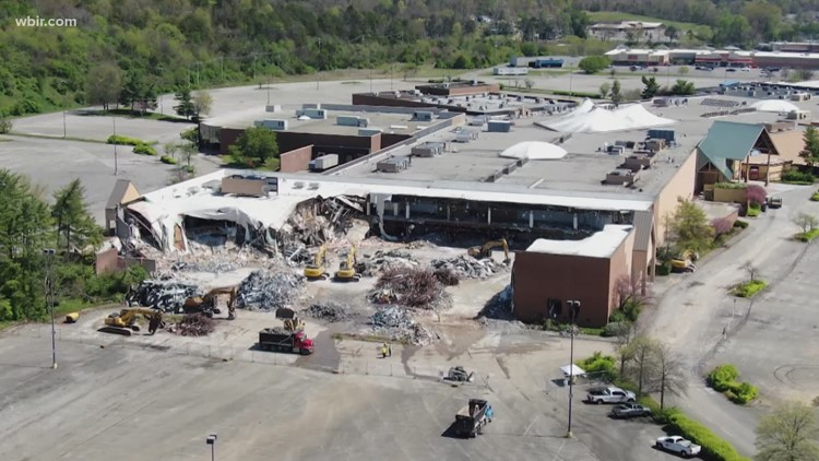 New view of Knoxville Center Mall demolition