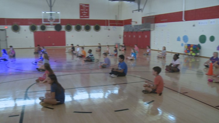 Gym class at John Sevier Elementary School ends with a few minutes of quiet time